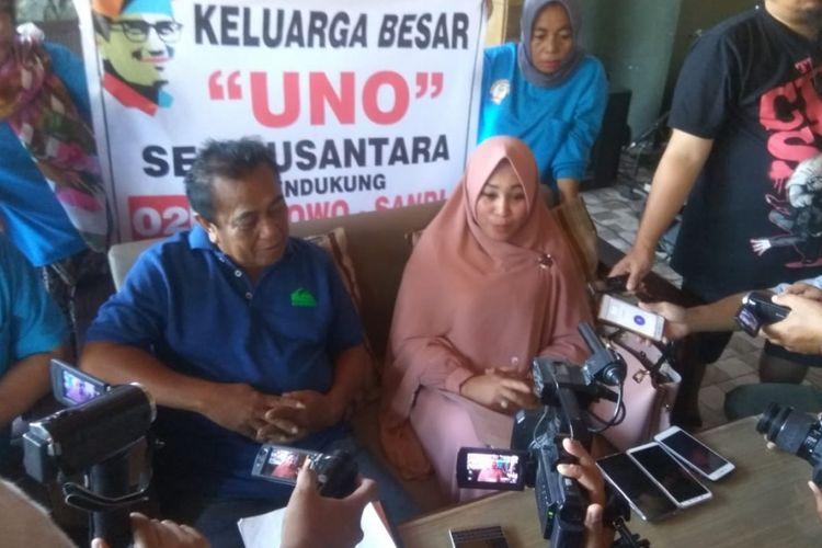 Nova Rolina Uno yang mewakili keluarga besar Uno Se-Nusantara menyatakan keluarga besarnya tetap solid dan bangga dengan pencalonan Sandiaga Uno sebagai Wakil Presiden