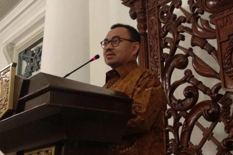 Calon gubernur Jawa Tengah Sudirman Said di Balai Kota DKI Jakarta, Selasa (20/2/2018).