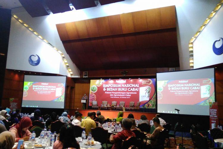 Acara simposium nasional dan bedah buku cabai di Hotel Bidakara, Jakarta, Rabu (18/10/2017).