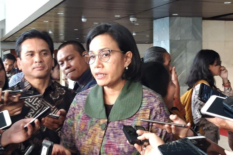 Menteri Keuangan Sri Mulyani Indrawati di kawasan DPR Jakarta, Selasa (16/7/2019)