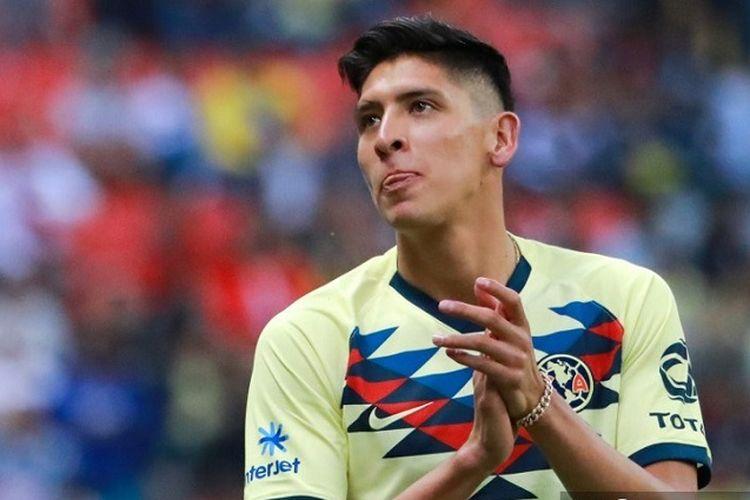 Edson Alvarez dari America dalam pertandingan turnamen Meksiko Apertura 2019 di stadion tje Azteca di Mexico City, pada 20 Juli 2019.