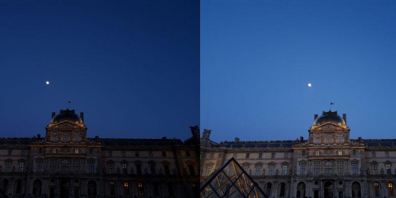Perbandingan antara foto yang dibidik dengan bukaan F/2.4 (kiri) dan F/1.5 (kanan).