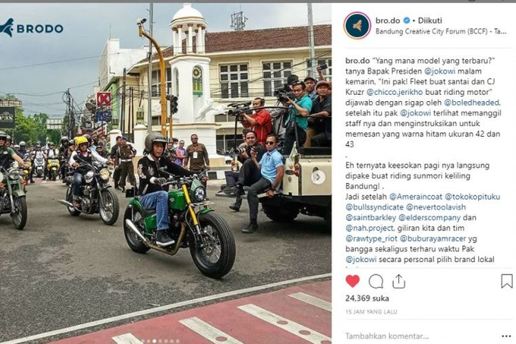 Presiden joko Widodo mengenakan sepatu riding buatan Brodo saat berkonvoi motor di Bandung, Minggu (11/11/2018)