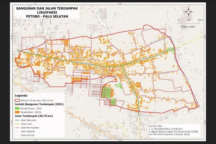 Peta dampak likuefaksi di Petobo, Palu, Sulawesi Tengah.