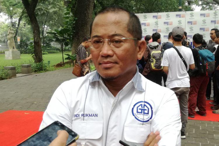 Sekretaris Jenderal Gabungan Pelaksana Konstruksi Nasional Indonesia (Gapensi) Andi Rukman di Taman Suropati, Jakarta, Minggu (12/9/2018)