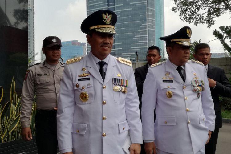 Pasangan gubernur dan wakil gubernur terpilih Riau, Syamsuar-Edy Natar Nasution mendatangi Gedung Merah Putih Komisi Pemberantasan Korupsi (KPK), Jakarta, Rabu (20/2/2019).