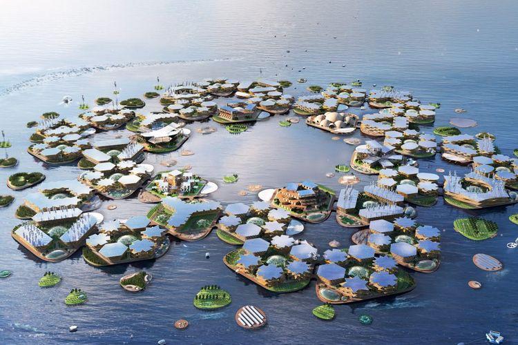 Oceanix City merupakan kota di atas air yang dibentuk dari rangkaian struktur heksagonal.