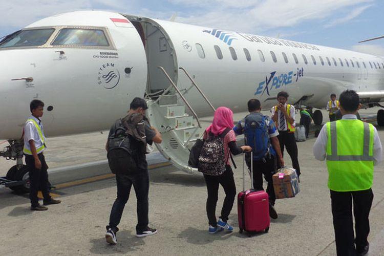 Pesawat Garuda Indonesia di Bandara Sultan Aji Muhammad Sulaiman Sepinggan Balikpapan, Kalimantan Timur, Jumat (13/2/2015).