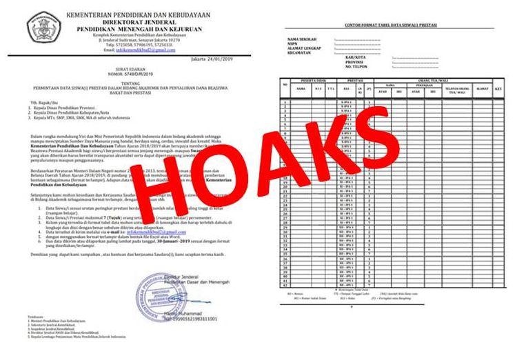 Hoaks surat edaran yang meminta data siswa-siswi berprestasi untuk bantuan dana beasiswa yang mengatasnamakan Kemendikbud RI.