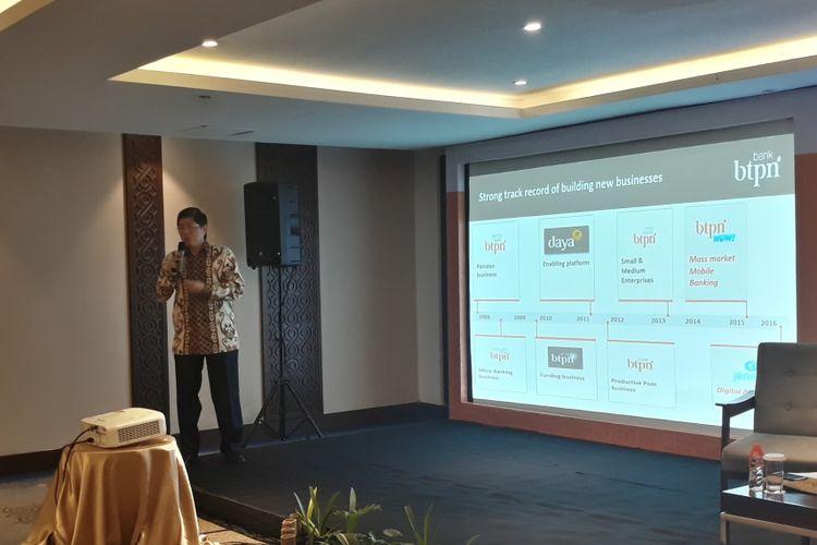 Wakil Direktur Utama BTPN Ongki Wanadjati Dana pada acara Entrepreneur Networking Forum di Four Points Hotel Makassar, Kamis (20/9/2018).