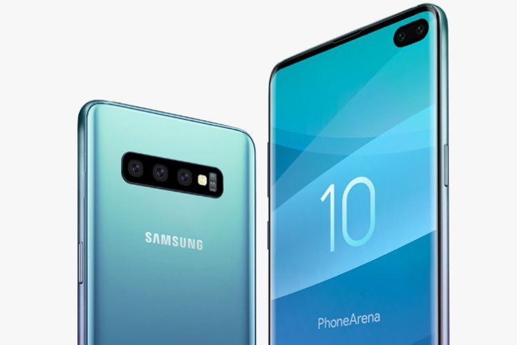 Ilustrasi Samsung Galaxy S10+ dengan tiga kamera belakang dan dua kamera depan