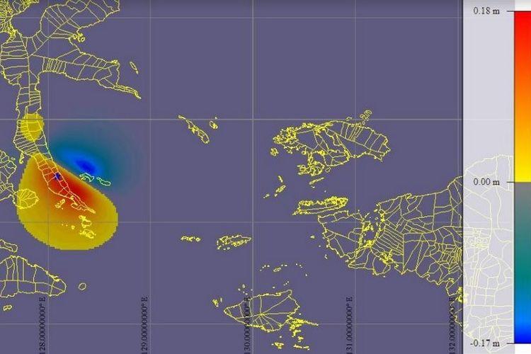 Tsunami lemah terjadi setelah gempa di Labuha, Halmahera Selatan, Maluku Utara pada Minggu (14/7/2019).
