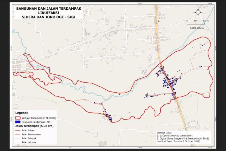 Likuefaksi yang terjadi di perbatasan Desa Sidera dan Desa Jono Oge.