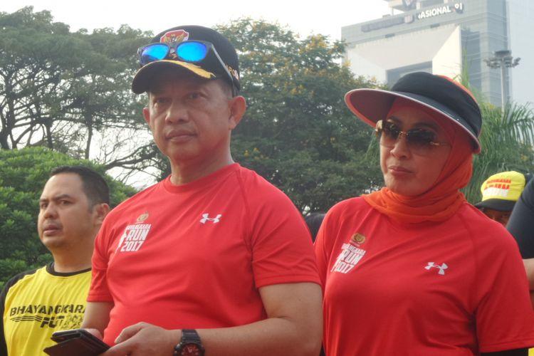 Kapolri Jenderal Pol Tito Karnavian membuka acara Bhayangkara Run di Monumen Nasional, Jakarta Pusat, Minggu (16/7/2017).