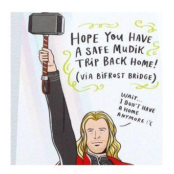 Kartu Lebaran dengan gambar ilustrasi Thor, karya ilustrator Triska Sarwono.