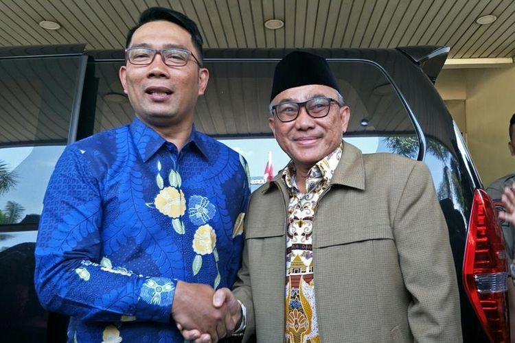 Gubernur Jawa Barat Ridwan Kamil dan Wali Kota Depok Mohammad Idris, di Balai Kota Depok, Kamis (18/7/2019).