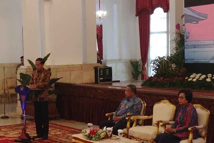 Presiden Jokowi saat  membuka Rapat Kerja Nasional (Rakernas) Akuntansi dan Pelaporan Keuangan Pemerintah Tahun 2017, di Istana Negara, Jakarta, Kamis (14/9/2017).