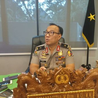Kepala Biro Penerangan Masyarakat Humas Brigjen (pol) Dedi Prasetyo di Gedung Humas Mabes Polri, Jakarta, Senin (20/5/2019).