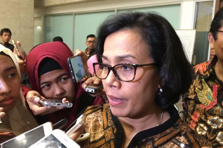 Menteri Keuangan Sri Mulyani Indrawati saat ditemui di gedung DPR/MPR, Jakarta Pusat, Selasa (6/2/2018).