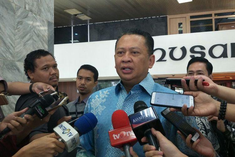 Ketua DPR Bambang Soesatyo di Kompleks Parlemen Senayan, Jakarta, Selasa (14/5/2019).