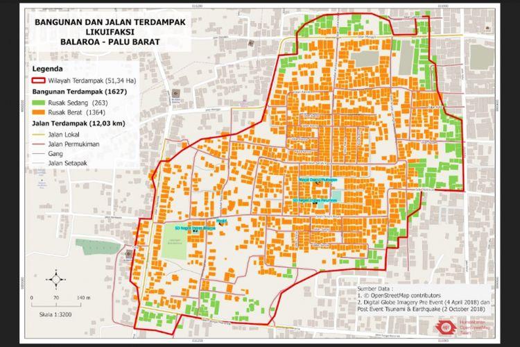 Peta dampak likuefaksi di Balaroa, Kota Palu, Sulawesi Tengah.