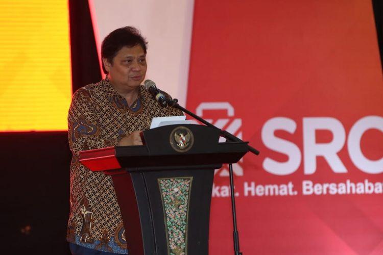 Menteri Perindustrian Airlangga Hartarto pada acara Sampoerna Retail Community (SRC) di Jakarta.