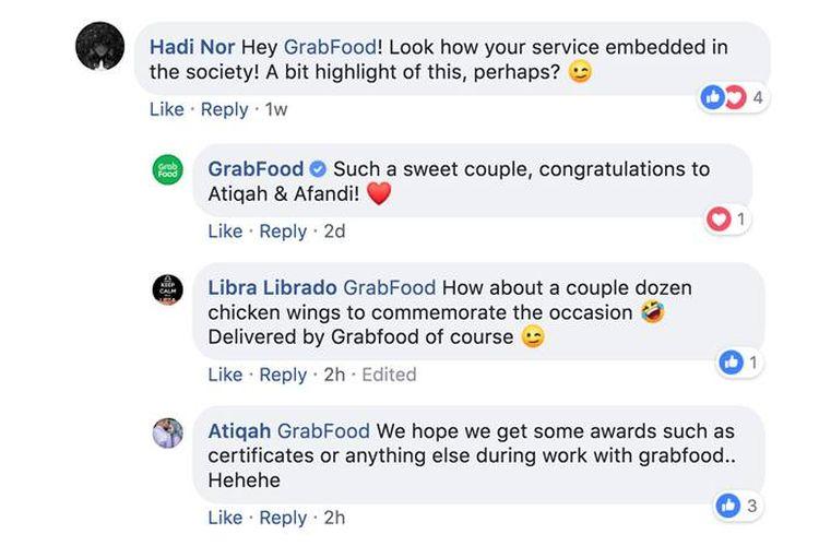 Ungkapan selamat dari pihak GrabFood Malaysia atas pernikahan rekan mereka Nur Atiqah dan Mohamad Afandi.