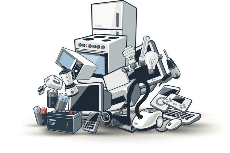 Beragam sampah elektronik dari peranti harian personal dan rumahan.