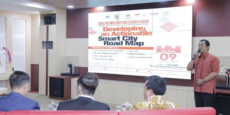 Wali Kota Semarang, Hendrar Prihadi, pada kegiatan focus group discussion Goesmart 2018 di Situation Room Pemerintah Kota Semarang, Selasa (9/10/2018).
