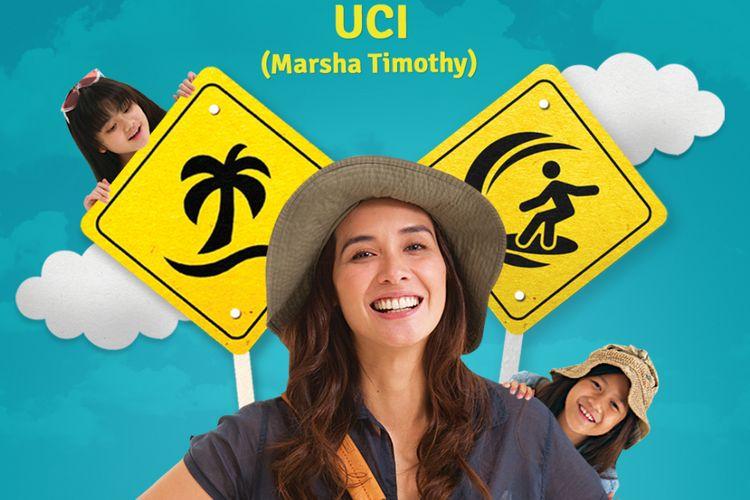 Poster yang memperkenalkan Marsha Timothy sebagai Uci dalam film Kulari ke Pantai.