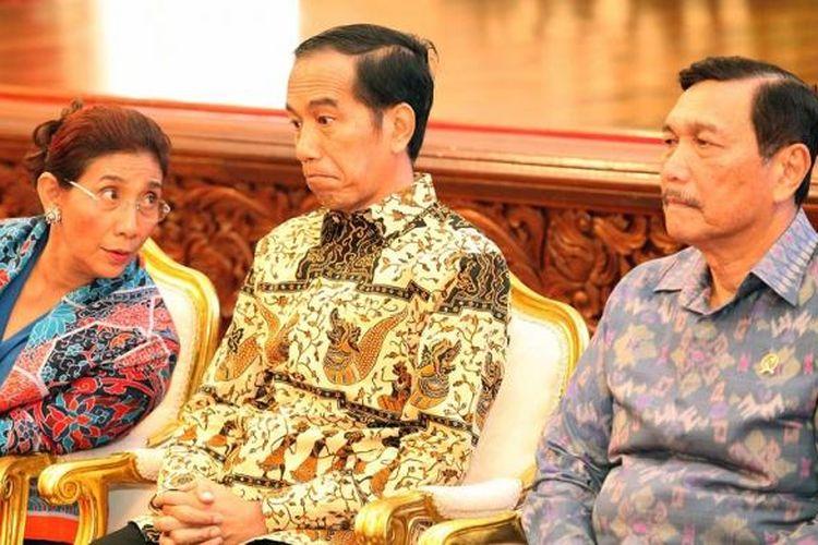 Presiden Jokowi bersama Menteri Kelautan Perikanan Susi Pudjiastuti dan Menko Maritim Luhut Pandjaitan