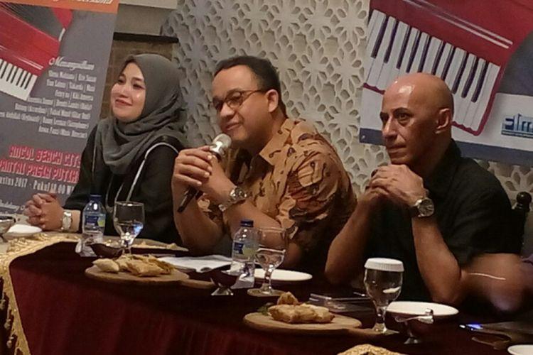 Gubernur DKI Jakarta terpilih, Anies Baswedan saat menghadiri acara Jakarta Melayu Festifal 2017 di kawasan Menteng, Jakarta Pusat, Jumat (11/8/2017).