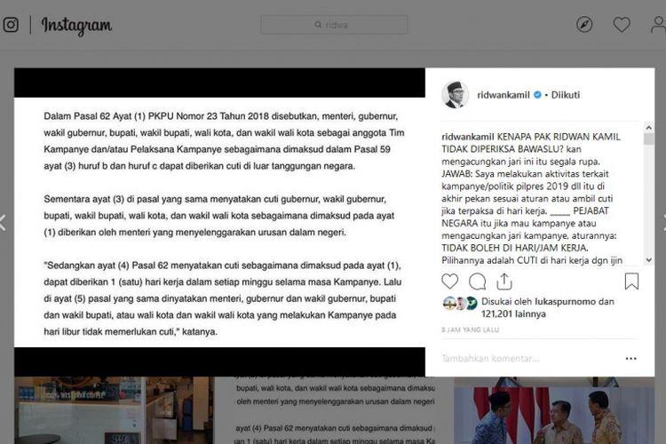 Pernyataan Ridwan Kamil di Instagram