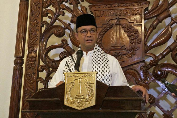 Gubernur DKI Jakarta Anies Baswedan di Balai Kota DKI Jakarta, Jalan Medan Merdeka Selatan, Jumat (15/12/2017).