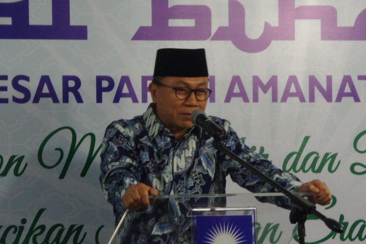 Ketua Umum PAN Zulkifli Hasan saat membawakan sambutan pada acara halal bihalal di Kantor DPP PAN, Jalan Senopati, Jakarta Selatan, Rabu (12/7/2017).
