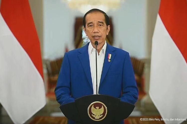 Presiden Joko Widodo memberikan sambutannya dalam peringatan Haornas ke-38.