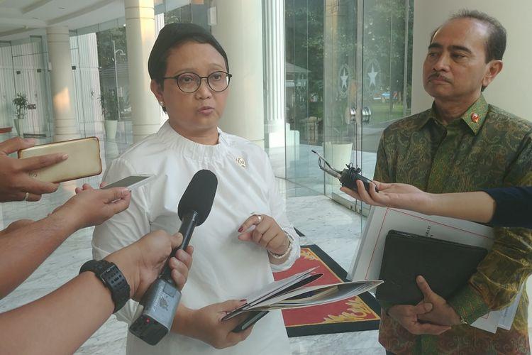 Menteri Luar Negeri Retno Marsudi di Kantor Wakil Presiden, Jakarta, Senin (17/7/2017).