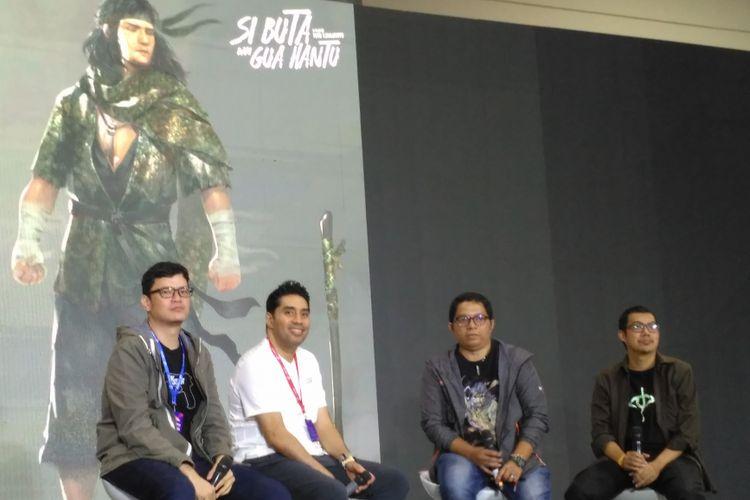 (dari kiri) Timo Tjahjanto, Wiki Olindo, Iwan Nazif dan tim penulis skenario Si Buta Dari Gua Hantu di Indonesia Comic Con 2018 di JCC, Senayan, Jakarta Pusat, Sabtu (27/10/2018).(KOMPAS.com/ANDIKA ADITIA)