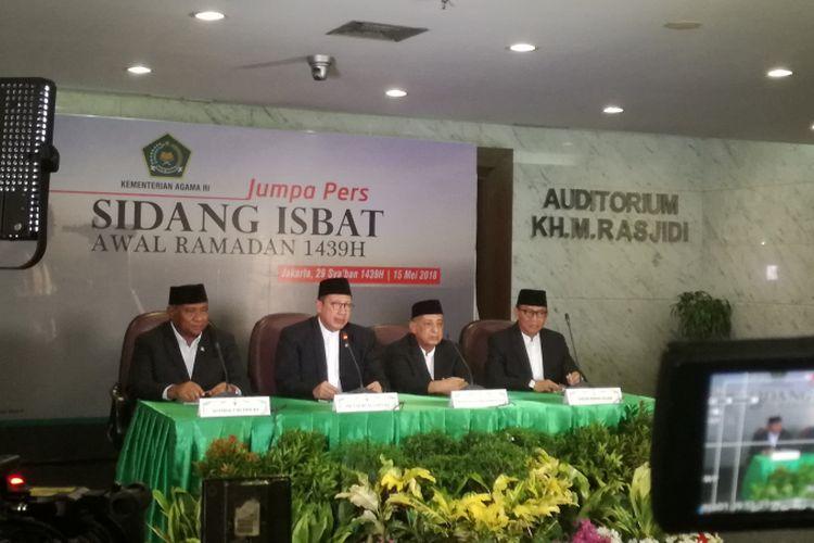 Kementerian Agama menggelar sidang isbat penetapan awal Ramadhan 1439 Hijriah di Kementerian Agama, Selasa  (15/5/2018).