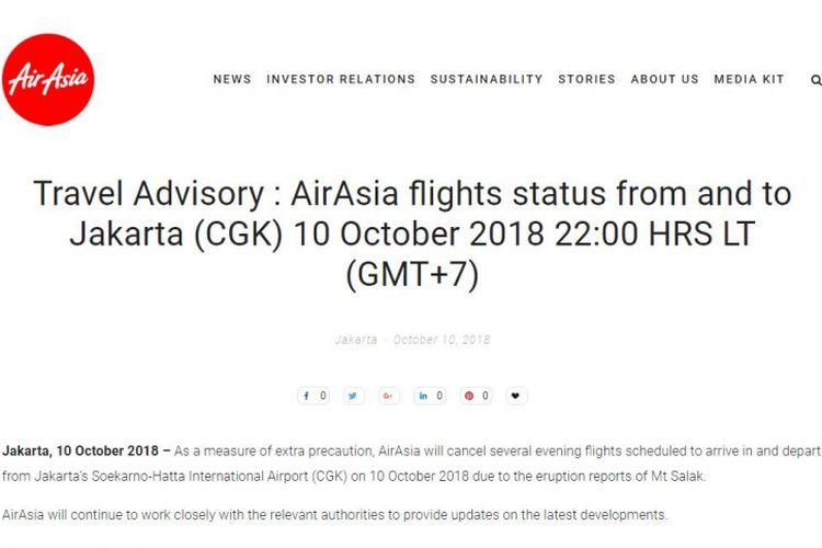 AirAsia mengumumkan pembatalan sejumlah jadwal penerbangan menuju dan dari Bandara Soekarno-Hatta, Jakarta.