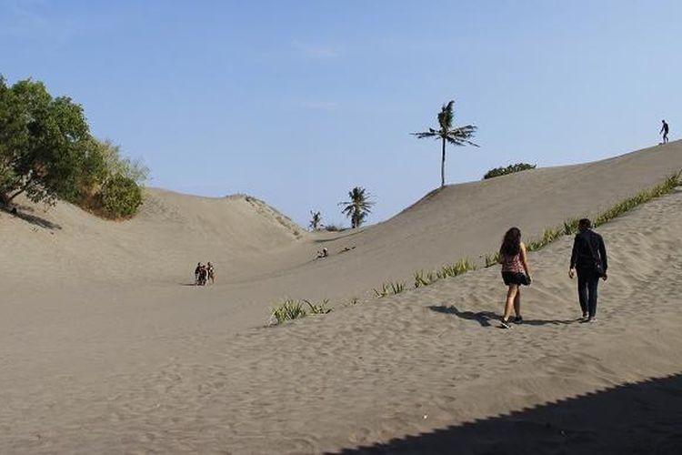 Wisatawan mengunjungi obyek wisata gumuk pasir Parangkusumo, Kecamatan Kretek, Bantul, Daerah Istimewa Yogyakarta, Minggu (23/8/2015). Sebagian wisatawan memanfaatkan gumuk pasir untuk melakukan permainan sandboarding.