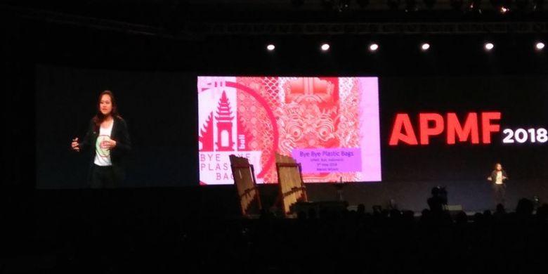 Melati Wijsen saat menjadi pembicara APMF 2018 di Bali Nusa Dua Convention Center, Badung, Bali