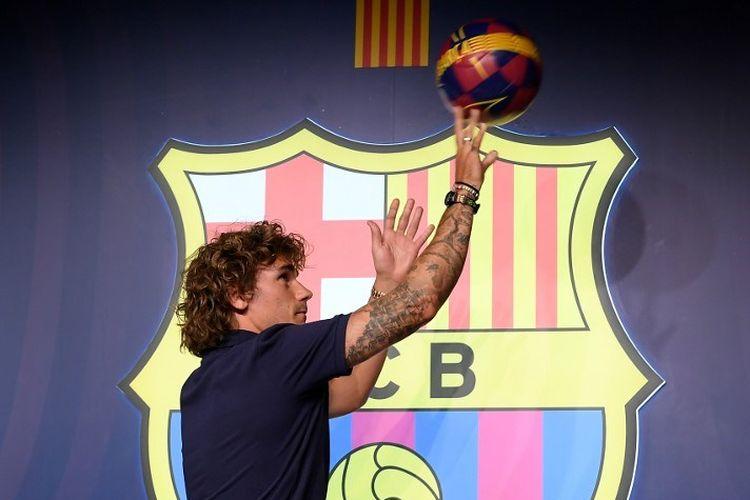 Antoine Griezmann diperkenalkan sebagai pemain baru Barcelona di Camp Nou, 14 Juli 2019.