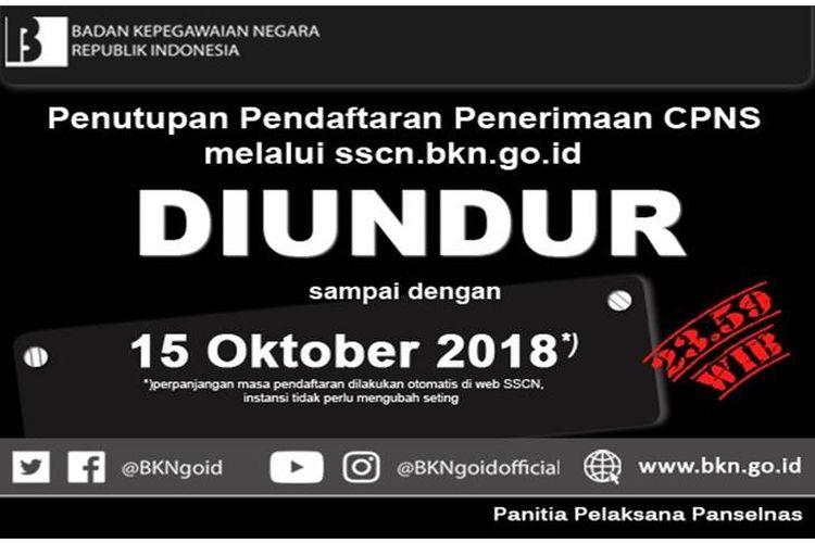 Penutupan Pendaftaran CPNS hingga 15 Oktober 2018