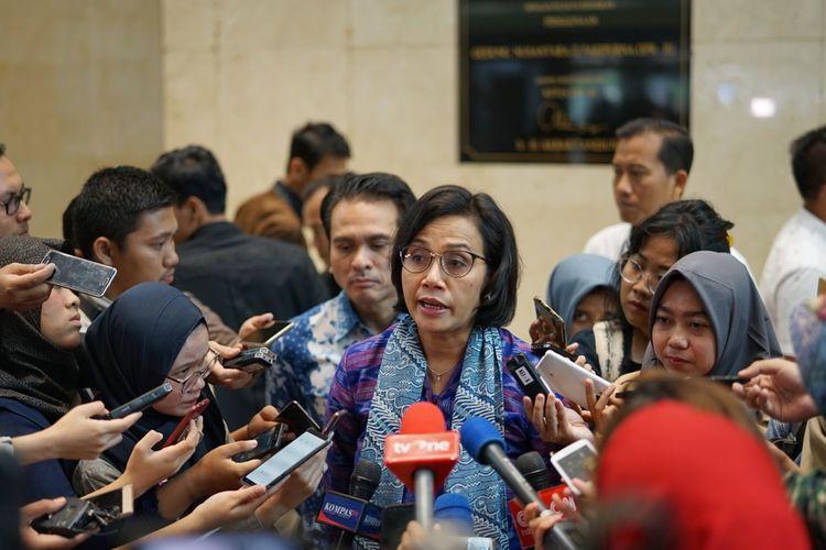 Menteri Keuangan Sri Mulyani Indrawati seusai menyampaikan pokok-pokok kebijakan fiskal tahun anggaran 2020 dalam Rapat Paripurna ke 17 DPR, di Kompleks Parlemen, Senayan, Jakarta, Senin (20/5/2019).