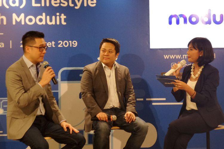 Co-Founder & CTO Moduit Charles Jap bersama Founder & CEO Moduit Jeffry Lomanto pada acara diskusi di kawasan Kuningan, Jakarta Selatan, Kamis (21/3/2019).