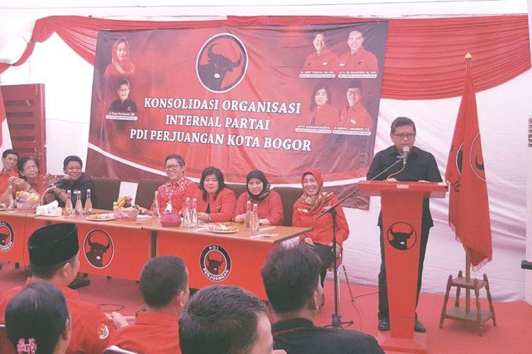 Sekjen DPP PDI-P Hasto Kristiyanto dalam acara konsolidasi internal di Kota Bogor, Minggu (8/10/2017).