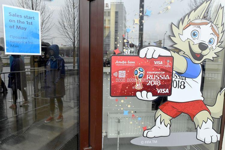 Loket penjualan tiket pertandingan Piala Dunia 2018 di Moskwa yang mulai dibuka pada April 2018 lalu.