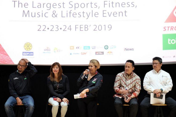 Berfoto dari kiri ke kanan VP Marketing Tokopedia Andi Joewarsa, CEO WNE Rosalind Ng, CEO Goifex Dina Carol, Kepala Bekraf Triawan Munaf, dan CEO Golds Gym Indonesia Francis Wanandi saat peluncuran Goifex 2019 di Jakarta, Selasa (19/2/2019).