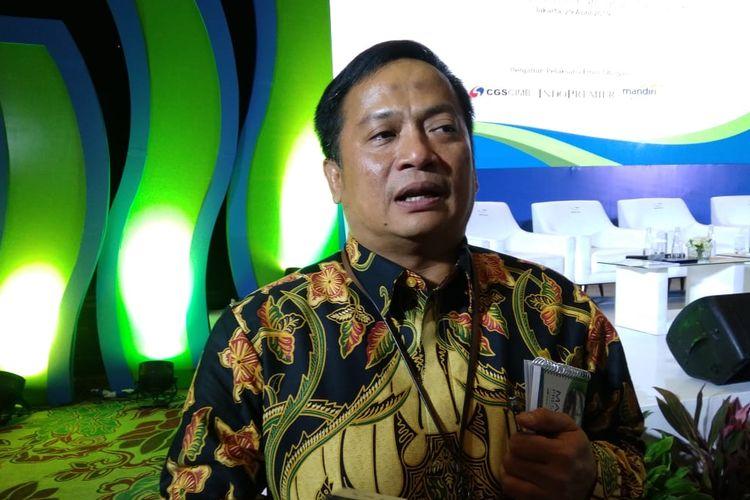 Direktur Utama PNM, Arief Mulyadi dalam public expose PNM di Hotel Fairmont Jakarta, Senin (29/4/2019)